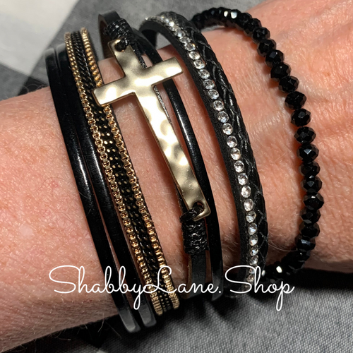 Gorgeous cross layered bracelet - black