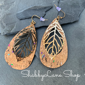 Teardrop cork -gold leaf earrings - natural color