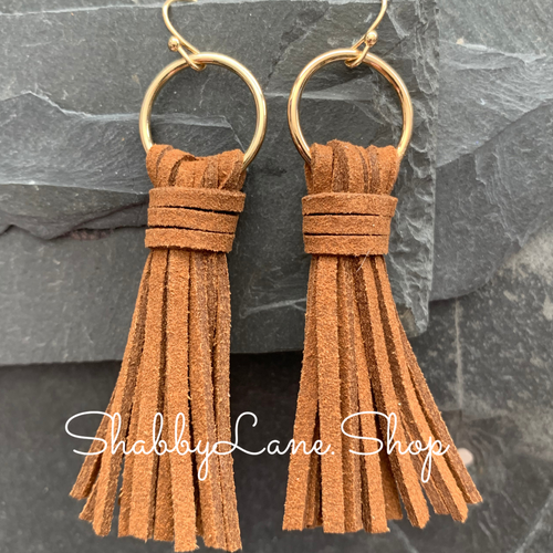 Leather tassel earrings - Brown