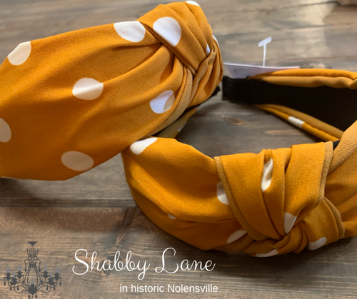 orange polka dot headband