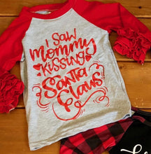 Load image into Gallery viewer, Mommy kissing Santa. Girl Toddler tee ruffle sleeves