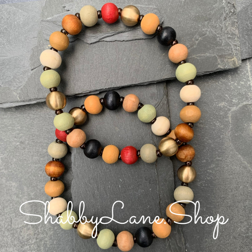 Wooden beaded bracelet- multi color