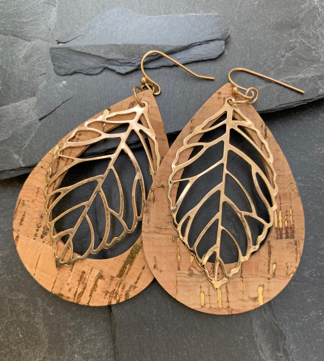 Teardrop cork -gold leaf earrings - natural