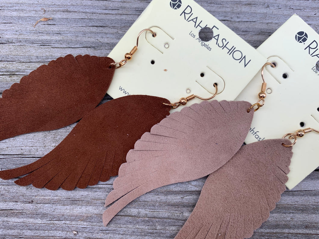 Leather  feathered earrings