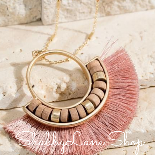 Fan Tassel  necklace -Dusty Rose