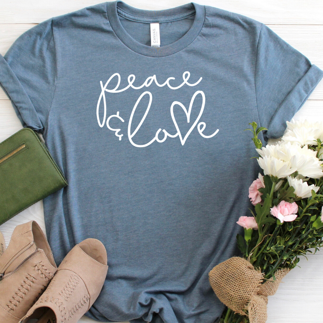 Peace and Love  tee grey slate