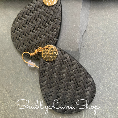 Woven teardrop earrings - Black