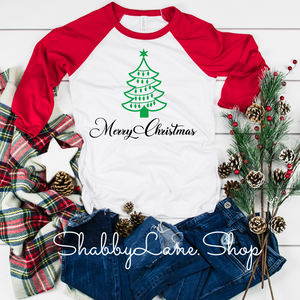 Christmas tree Merry Christmas  lady - red sleeves