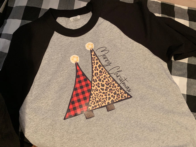 Leopard and buffalo plaid Christmas trees baseball tee