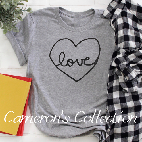 Love heart - Cameron Collection Heather Gray black text