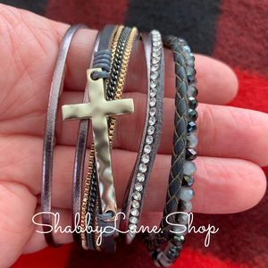 Gorgeous cross layered bracelet - gray