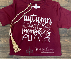 Autumn leaves and Pumpkins please - maroon