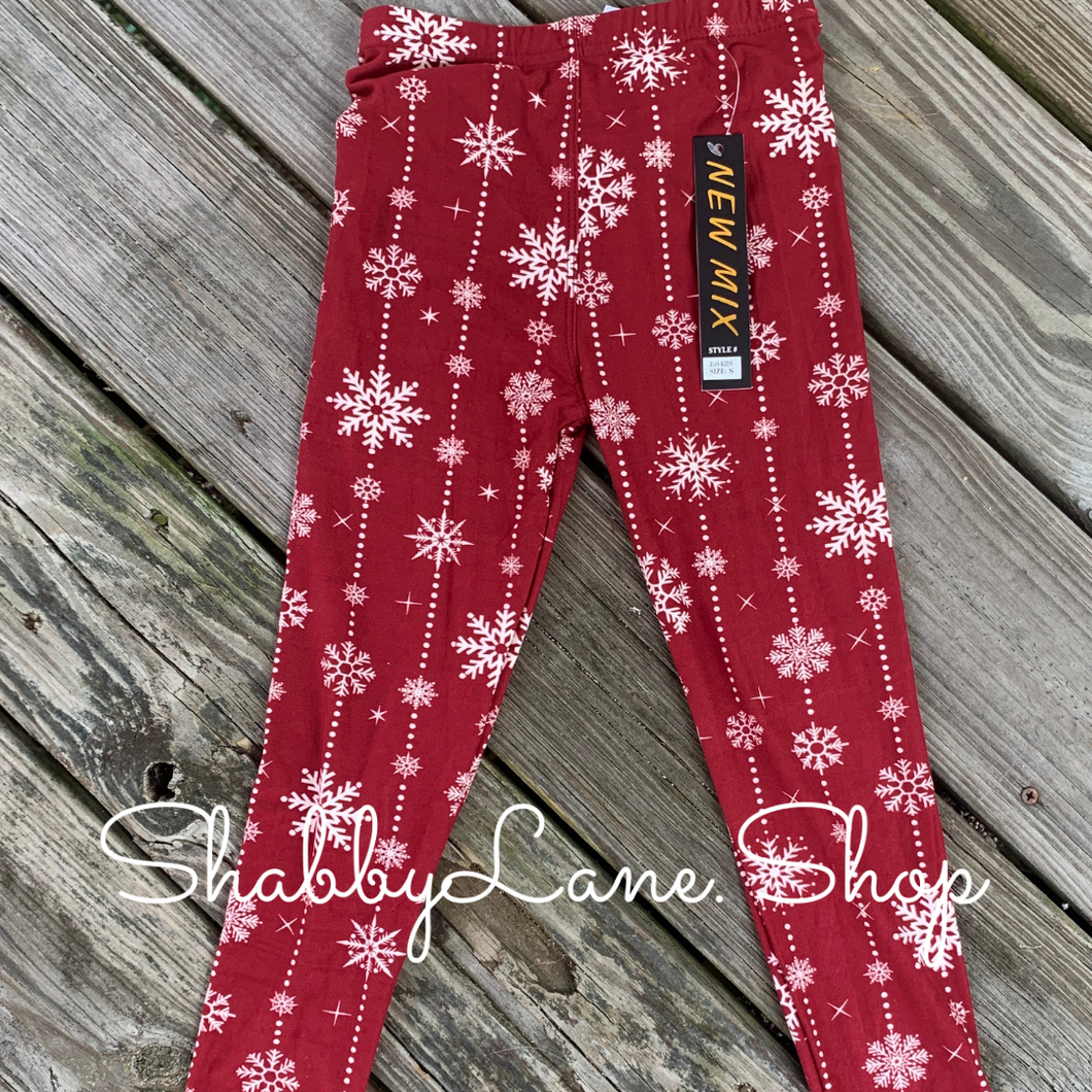 Children's leggings - maroon snowflakes