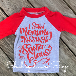 Mommy kissing Santa. Children tee long sleeves