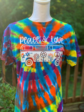 Load image into Gallery viewer, Peace and Love tie dye T-shirt rainbow