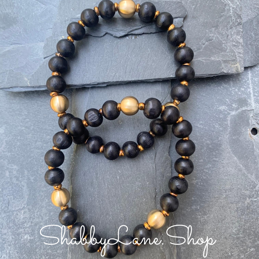 Wooden beaded bracelet- black
