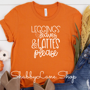 Leggings leaves and lattes Burnt orange
