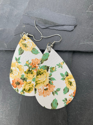 Yellow rose floral earrings