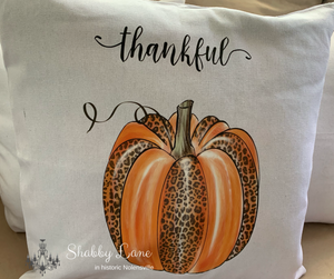 Thankful Leopard pumpkin Canvas pillow