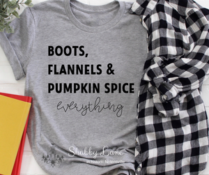 Boots flannels and pumpkin spice - black letters