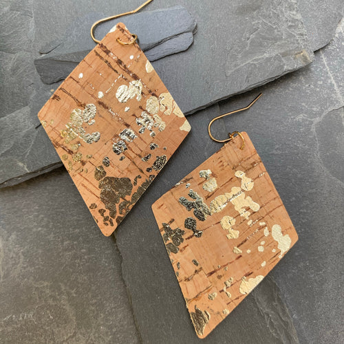 Beautiful cork silver earrings