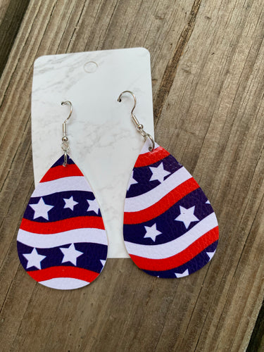 Patriotic Teardrop faux leather earrings Stars and Stripes