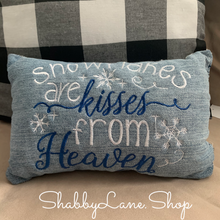 Load image into Gallery viewer, Snowflakes are kisses from heaven accent pillow dark blue