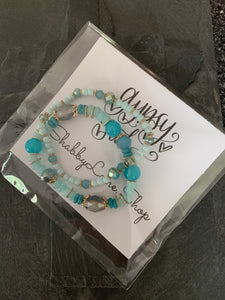 Beaded aqua/blue bracelet duo - Gypsy Soul