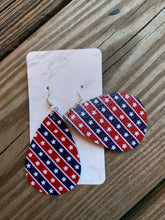 Load image into Gallery viewer, Patriotic Teardrop faux leather earrings Stars red blue stripes