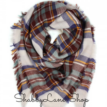 Load image into Gallery viewer, Beautiful blanket scarf - burgundy and blue