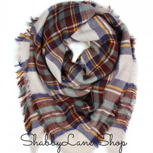 Beautiful blanket scarf - burgundy and blue