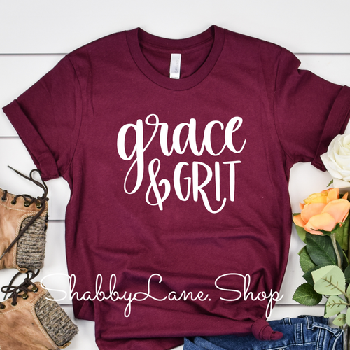 Grace and Grit t-shirt - Maroon