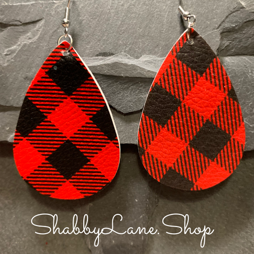Buffalo plaid  earrings -Red style 3