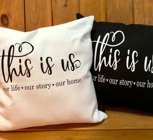 This is us. Canvas pillow