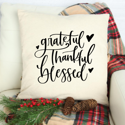 Grateful Thankful Blessed pillow - white pillow