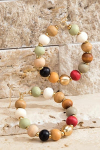 Beautiful wood bead earrings - Multi