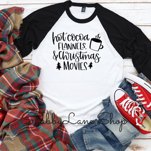 Hot cocoa flannels Christmas movies -black sleeves