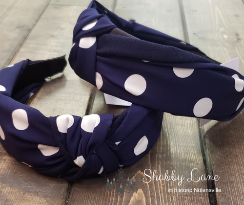 Navy polka dot headband