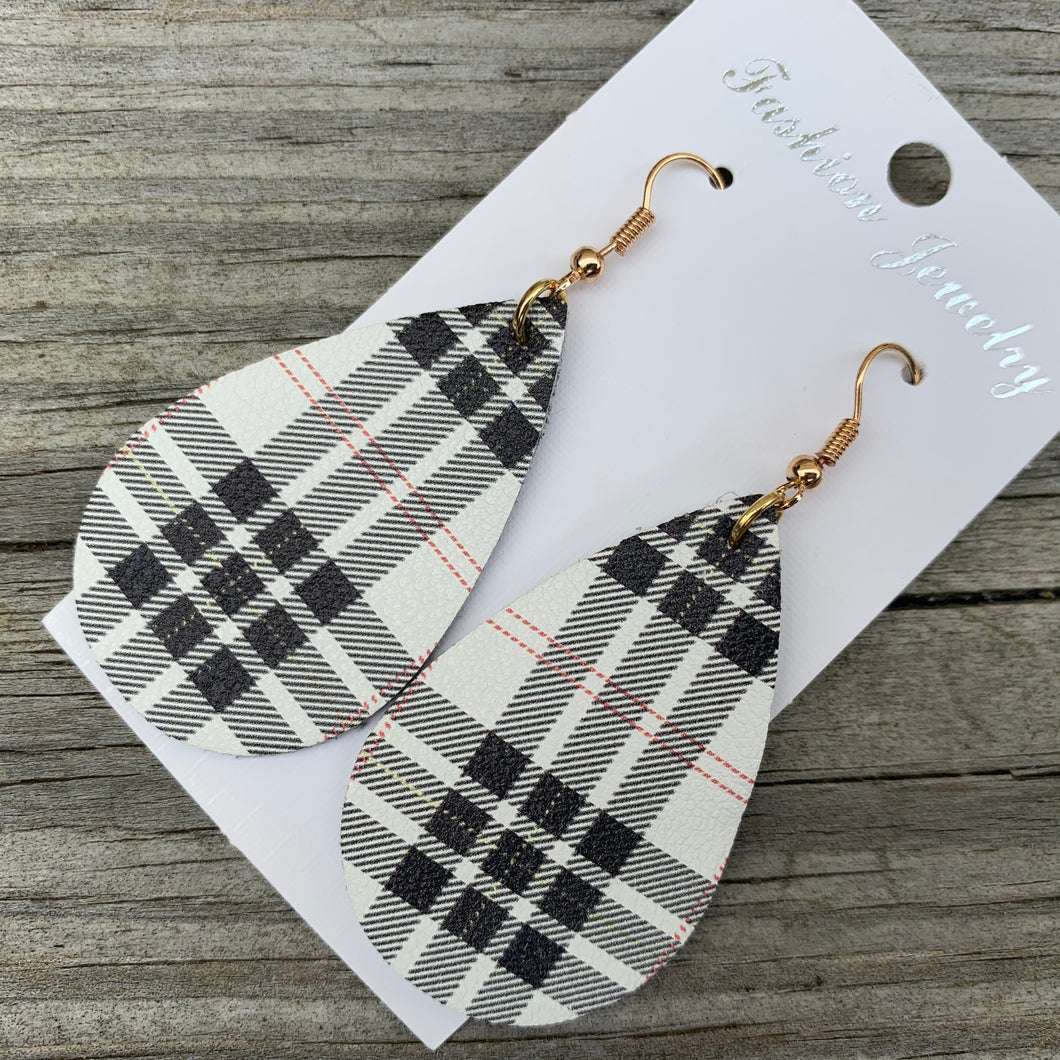 Buffalo plaid leather earrings