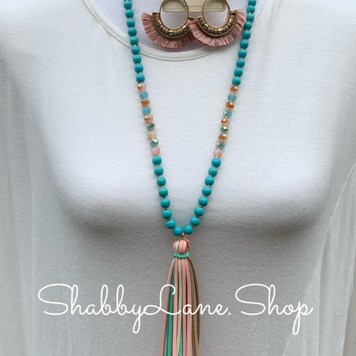 Turquoise Tassel beaded necklace