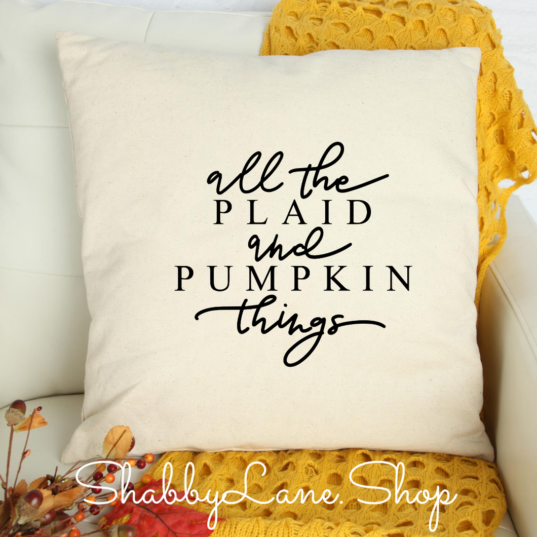 All the Plaid and pumpkins - white pillow