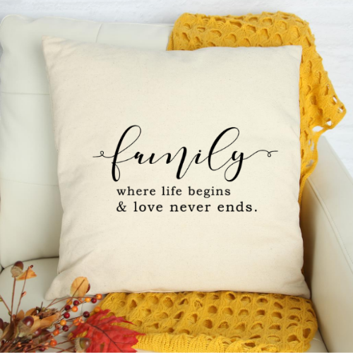 Family pillow - white pillow COVER