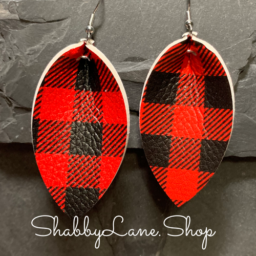 Buffalo plaid  earrings -Pinch style red