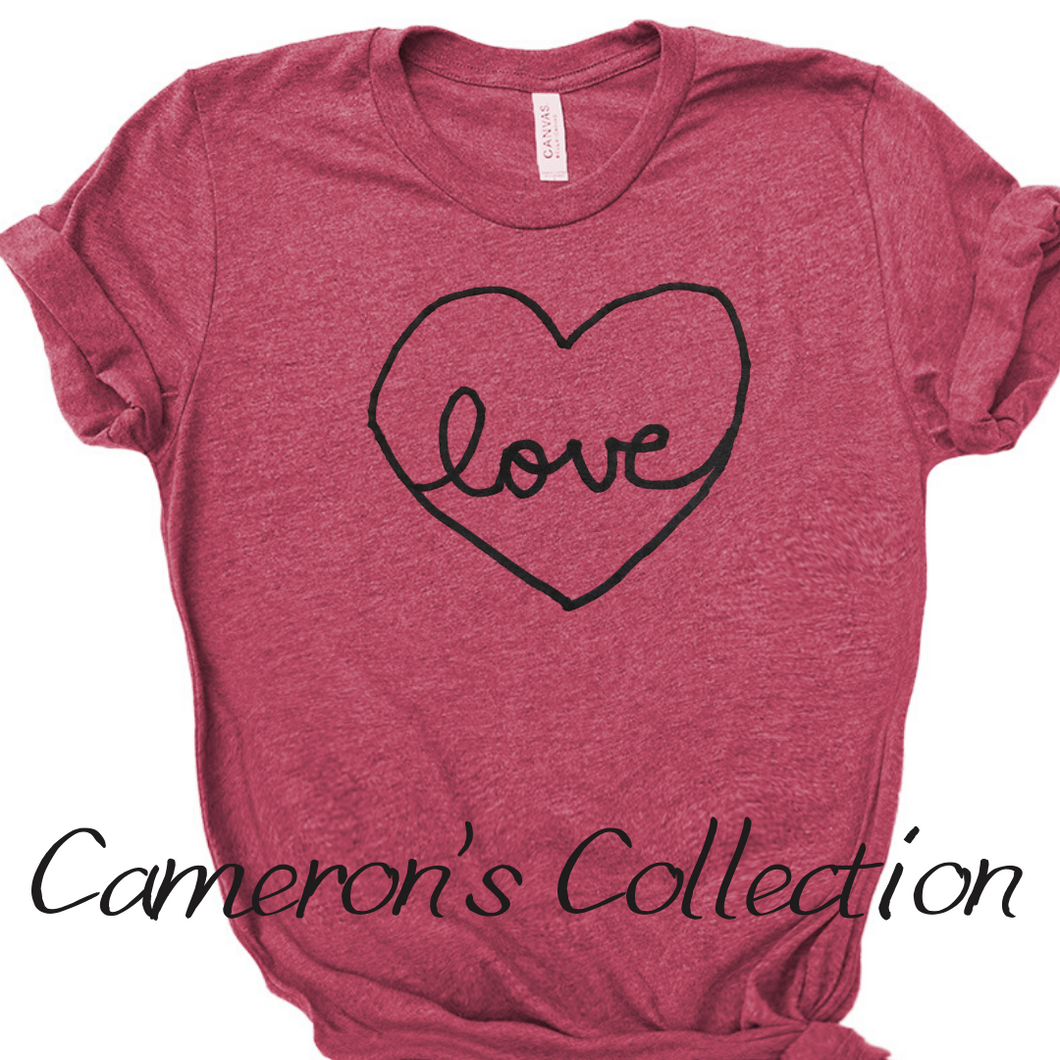 Love heart - Cameron Collection Heather raspberry black text