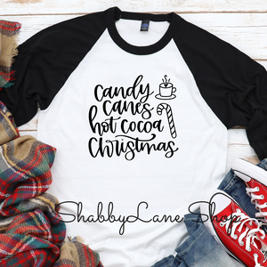 Candy Canes Hot Cocoa Christmas- black sleeves