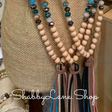 Load image into Gallery viewer, Tassel beaded necklace - tan multi color