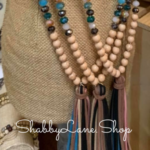 Tassel beaded necklace - tan multi color