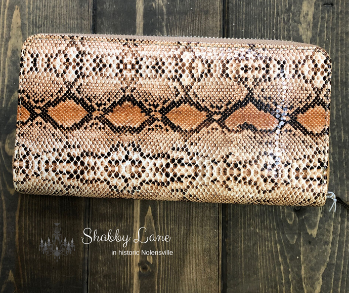 Fun zippers wallets snakeskin vinyl