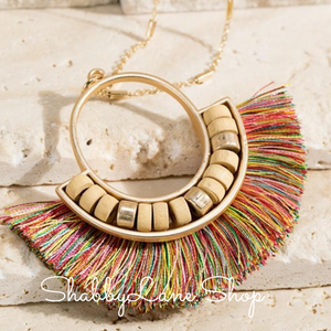 Fan Tassel  necklace -Multi color