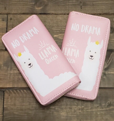 Fun zippers wallets - Lama Queen pink